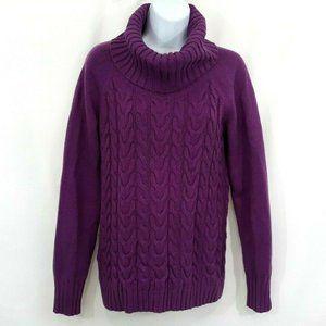 Banana Republic Wool Purple Cable Knit Sweater